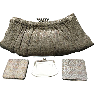 Vintage Large Jacquard Fabric Evening Clutch with Rhinestone Clasp and Accessories