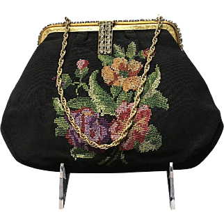Vintage Evening Bag with Needlepoint and Rhinestones