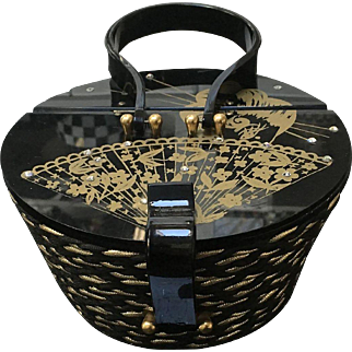 VIntage Suki Originals Basket Bag with Hand Painted Lucite Lid
