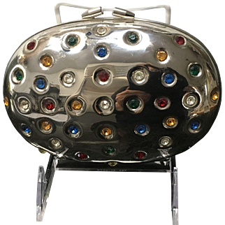 Vintage Egg Shaped Mod Minaudiere Encrusted with Jeweled Stones