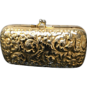 Vintage Judith Leiber Gold Plated Minaudiere with Floral Repousse
