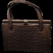 Vintage Lucille de Paris Porosus Crocodile Kelly Handbag