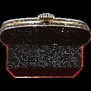 VIntage Judith Leiber Black Minaudiere Swarovski Crystals