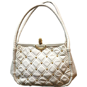 """Vintage Koret Studded Leather Handbag with """"Pineapple"""""""