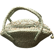 Vintage Joseph Woven Raffia Handbag with Seashells