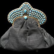 Vintage Silk Purse  with Heavily Jeweled Frame