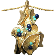 Vintage Grosse Free Form Pendant Necklace with Cabochons
