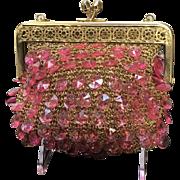 Vintage Italian Knit Handbag with Plastic Beads