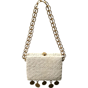 "Vintage Rodo Woven Straw Handbag with ""Dangles"""