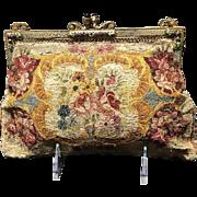 VIntage Embroidered Silk Stitch Floral Handbag with Enamel Frame