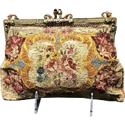 VIntage Embroidered Silk Stitch Floral Handbag with Enamel Frame