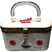 Vintage Nautical Handbag with Lucite, Appliques and Stones