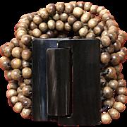 Vintage Gerda Lynggaard Wood and Bone Bracelet ***SIGNED***