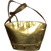 "Vintage Paloma Picasso Gold Leather Large Handbag with ""X's""."