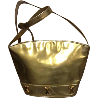 """Vintage Paloma Picasso Gold Leather Large Handbag with """"X's""""."""