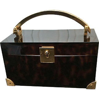 Vintage Crown Lewis Box Lucite Purse with Gold Tone Hardware