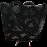 Vintage Ferragamo Suede and Mesh Unique Handbag