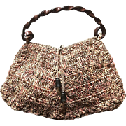Vintage Jamin Puech Straw Bag with Swirly Plastic Handle