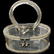 Vintage Lucite Handbag with Rhinestones