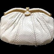 Vintage Leiber Large Python Handbag with Crystal Clasp