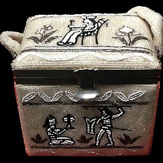 Vintage Unusual Beaded Mid Century Box Handbag with Primitive Figures