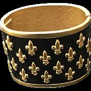 Vintage Lagerfeld Enamel Fleur de Lis Massive Bracelet