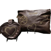"Two VIntage Moschino ""Peace and Love"" Handbags with Studs"