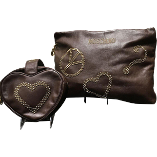 """Two VIntage Moschino """"Peace and Love"""" Handbags with Studs"""