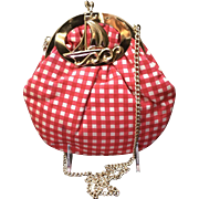 Vintage  Gingham Handbag with Nautical Frame