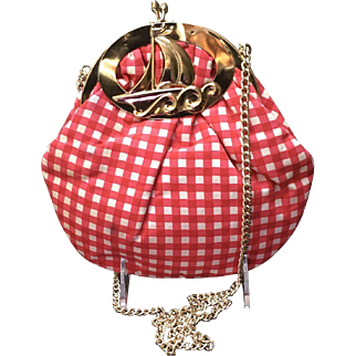 Vintage  Gingham Handbag with Nautical Frame