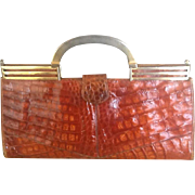 Vintage Large German  Alligator Handbag with Deco Influence