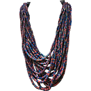 Vintage Gerda Lynggaard Colorful Multi Strand Necklace ***Signed***