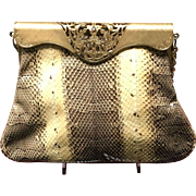 Vintage Python Handbag with Decorative Frame