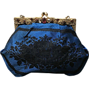 Vintage Silk Purse with Ornate Jeweled Frame