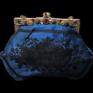 Vintage Silk Purse with Ornate Jeweled Frame