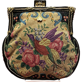 Vintage Petit Point Purse with Ornate and Enameled Frame
