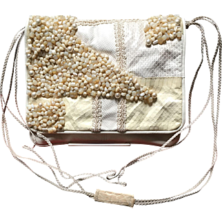VIntage Grace Agostino Leather Handbag with Stones