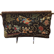 Vintage Morabito French Beaded Purse with Forbidden Stitch Embroidery and Jeweled Frame