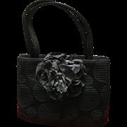 Vintage Crown Lewis Handbag with Large Floral Accent