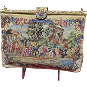 Vintage Micro Petit Point Purse with Scenic Landscape and Enameled Frame
