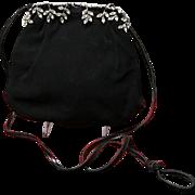 Vintage Koret Suede Evening Bag with Rhinestone Frame
