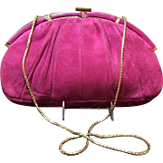 Vintage Leiber  Extra Large Fuchsia Suede Handbag with Skin Frame
