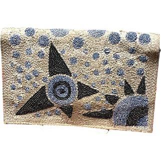 """Vintage Silk Stitched and Beaded French """"Deco"""" Purse"""