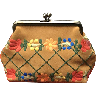 Vintage Isabella Fiore Suede Pocketbook with Embroidery