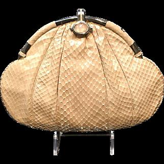 Vintage Judith Leiber Medium Sized Python Purse with Jeweled Clasp