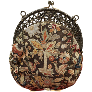Vintage Micro Petit Point Italian Purse Featuring A Stylized Renaissance Garden and 800 Silver Frame