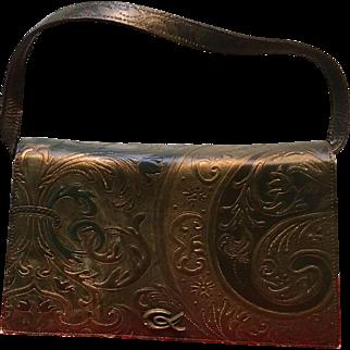 Vintage Christian Lacroix Baroque Looking Tooled Leather Handbag
