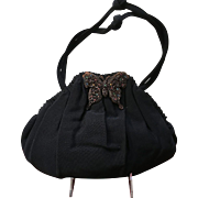 Vintage Grosgrain Handbag Adorned with Jeweled Butterfly