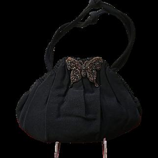 Vintage Grosgrain Handbag Adorned with Jeweled Butterfly