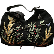 Vintage Renaud Pellegrino Suede Hobo Bag with Appliques and Embroidery